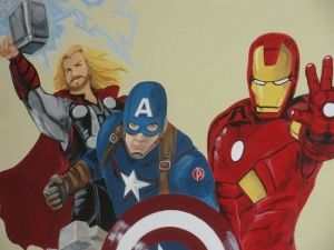 What big, graphic fun these superheroes bring to a room.