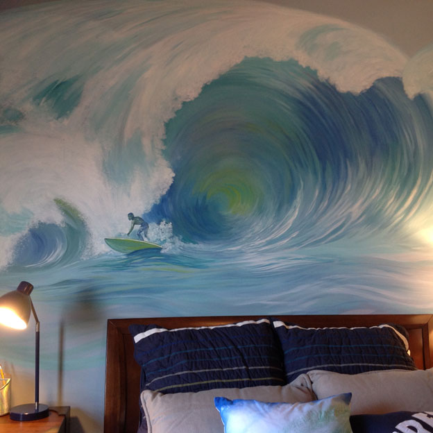 One wall with the dramatic impact of a surf wave looks great in this boy's room.