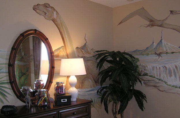 These well placed dinosaur images enliven a corner.