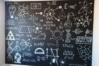 Bedroom chalk wall for a science fan!