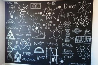 Bedroom chalk wall for a science fan!